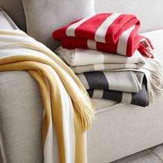 Love these striped throws