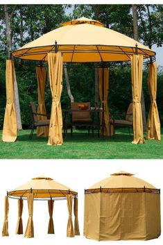 Metal Round Canopy Gazebo Patio Deck Porch Shelter Party Sunshade Tent Curtains for sale online Porch Shelter, Patio Gazebo, Curtains For Sale, Canopies, Tent, Outdoor Structures, Metal, Party, Store