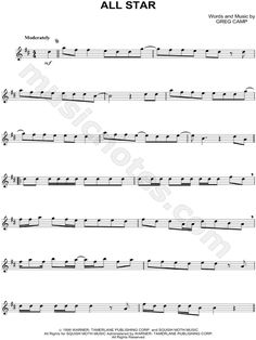 Print and download All Star sheet music by Smash Mouth arranged for Alto Saxophone. Instrumental Solo in D Major.