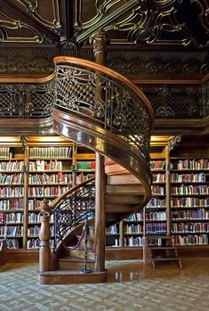 Spiral Staircase, Library, Budapest, Hungary My dream library for my dream house - Traumhaus Beautiful Library, Dream Library, Library Books, Library Ideas, Beautiful Stairs, Read Books, Garde Corps Design, Wonderful Dream, Home Libraries