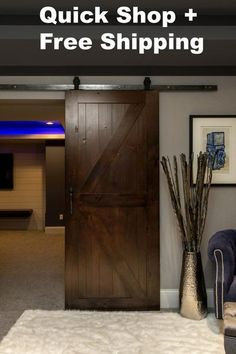 "What's included with this barn door package: 1. K barn door W42"" x H84"" Knotty alder wood. Pattern on both sides of door. Will fit most standard door openings."