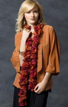 Frilly crochet scarf