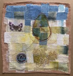 Woven fabric and hand stitched . Woven Fabric, Hand Stitching, Fiber Art, Bohemian Rug, Vintage World Maps, Applique, Textiles, Quilts, Blanket