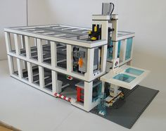 lego modular parking garage | Here you can see the size, a bit of the car lift and that my photo ...