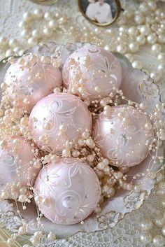 Shabby Chic Pink Christmas Ornaments and Pearls! Noel Christmas, Victorian Christmas, All Things Christmas, White Christmas, Vintage Christmas, Christmas Ornaments, Christmas Pageant, Christmas Mantels, Christmas Villages