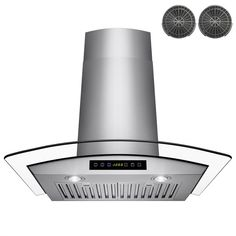 AKDY 30 in. Convertible Wall Mount Range Hood in Stainless Steel (Silver) with Tempered Glass, Touch Control and Carbon Filters