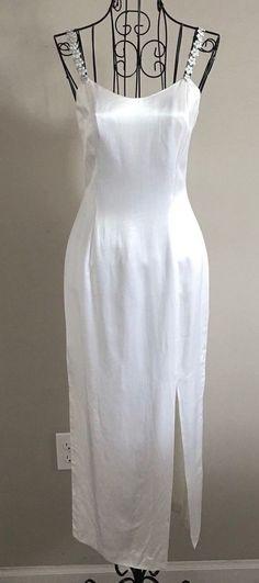 VTG Jessica McClintock Gunne  Sax Satin Rhinestone Maxi Dress Wedding Formal 3/4 #JessicaMcClintock #MaxiDress #Formal