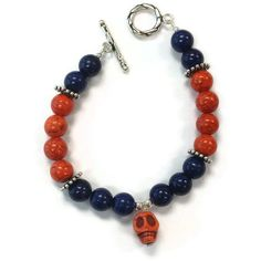 Day of the Dead Bracelet Sugar Skull Navy Blue by jewelrybycarmal, $40.00