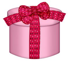 Pink Heart Round Gift Box PNG Clipart