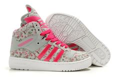 Perfect for Spring...Adidas M Attitude Monogram Luminous Floral big tongue high top women's shoes pink...