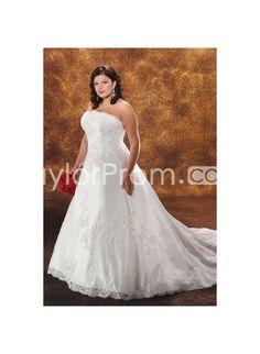 Untraditional Strapless A-line Floor-length Chapel Appliques Plus Size Bridal Gowns WP-0024