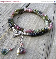 On sale Faceted Watermelon Tourmaline Rondelle stones, Sterling Silver,  Double Wrap Bracelet with Heart Toggle Clasp