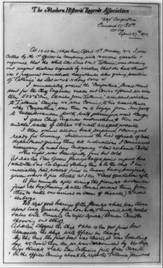 Photocopy of hand-written account by Captain of R.M.S. Carpathia describing his response to the distress signal of the Titanic on 15 April 1912. (Library of Congress Prints and Photographs Division Washington, D.C.) #