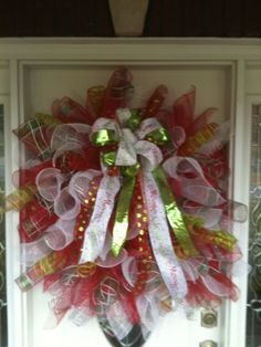 "Christmas Deco Mesh Wreath Curly Spiral Holiday Large 36"" Wreath. $75.00, via Etsy."