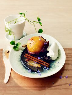 plum with cream and spices