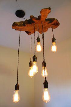 Live Edge Olive Tree Wood Slab Light Fixture with Hanging Edison bulbs, Ball Mason Jars, Twisted Fabric Wire.