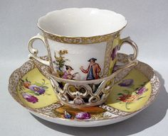 Rare DRESDEN Rococco TREMBLEUSE Cup & Saucer Set - Completely Handpainted c1880