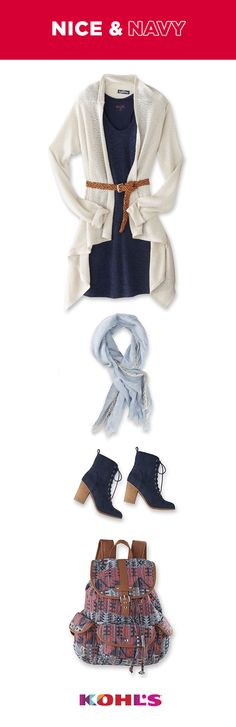 Navy is a neutral we are coveting for fall, but it's just as classic in summer and winter, too. It's as simple as black or white but offers a lot more variety. White and navy is always a classic color combination—and you can't go wrong with classic. But to keep things interesting, accent your outfit with bright colors and other neutral shades. And for an allover cool feel, mix in a bunch of other shades of blue. Get your blue at Kohl's (but we dare you to be blue about how much you'll save).