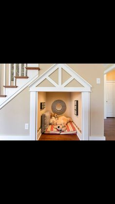 Dog House Ideas Under Stairs - Part To Remember Decor, Indoor Dog House, House Design, Home Projects, Dog Bedroom, Under Stairs, Crates, Home Decor, Animal Room