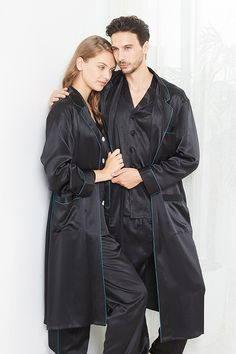 Simple Couple Matching Pajamas #hisandher #pajamaset #pajamassatin