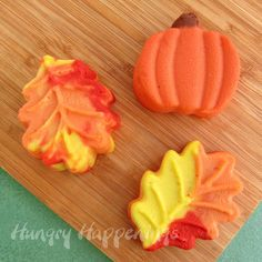 Fun Fall Mini Cheesecake Leaves | For the fun fall colors, divide the batter into separate containers and color each one either red, yellow, or orange.  You can make each cheesecake one color or marble all three colors together. Mini cheesecake leaves are a perfect dessert to display on your Thanksgiving table.