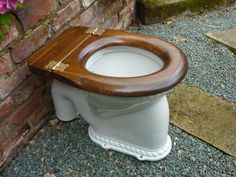 Restored antique toilet seat with brass hinges - restored by us