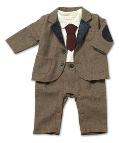 Look at this Brown Zigzag Blazer & Romper - Infant on #zulily today!