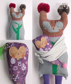 how sweet is the sleeping baby, beautiful shape - handmade upcycled dolls by White Fox in Black Box on Etsy