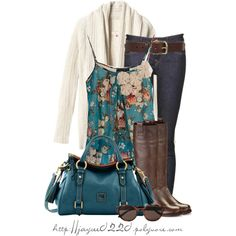 """""""Teal Floral and Brown"""" -- Floral  cami from The Buckle, and matching Dooney purse"""