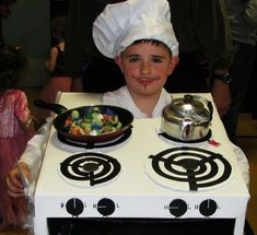 Turn yourself—or your kid—into a spooky chef.   33 Super Easy Cardboard Box Halloween Costumes For Lazy People