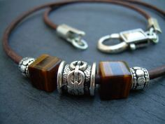 Leather Necklace, Gemstone Necklace, Tiger Eye, Mens Necklace, Mens Jewelry
