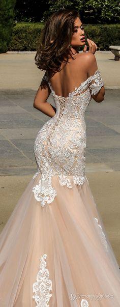 victoria soprano 2018 bridal short sleeves illusion bateau semi sweetheart neckline heavily embellished bodice elegant blush color mermaid wedding dress open back chapel train (brenda) zbv
