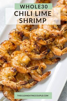 This Chili Lime Shrimp is an easy paleo, Whole30 and gluten free dinner that's made in only 20 minutes! A delicious, healthy meal thats super versatile. Use them in tacos, wraps, salads or lettuce wraps! #paleo #whole30 #glutenfree #grilling Clean Eating Guide, Easy Clean Eating Recipes, Easy Whole 30 Recipes, Healthy Grilling Recipes, Healthy Gluten Free Recipes, Healthy Appetizers, Healthy Meal Prep, Appetizer Recipes, Whole30 Recipes