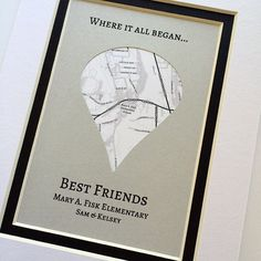 Where It All Began - Unique Map Gifts for Friends - Gift For Best Friends- Distance Friendship Relationship Gift- BFFs Christmas Present - This graduation gift is super cute! Cute Best Friend Gifts, Graduation Gifts For Best Friend, Graduation Presents, Presents For Best Friends, Bff Gifts, Friend Birthday Gifts, Grad Gifts, Birthday Presents, Best Friend Christmas Presents