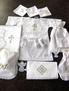 """Купить Набор """"Диомид""""- крестильный - белый, крест, крестильный комплект, Крестины, крестильный набор, крестик"""