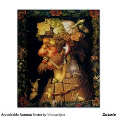Arcimboldo Autumn poster. Oil painting on canvas from 1573. Giuseppe Arcimboldo was one of the most unique and bizarre painters of the baroque period. Arcimboldo was famous for his incredibly detailed portraits arranged out of fruits, vegetables and other common foods. Autumn is the artist allegorical depiction of autumn feauturing fall foodstuffs like grapes, pumpkins, mushrooms, grains and apples. A great gift for fans of Arcimboldo, Surreal art, and Kitchen paintings. #USA #Bermuda…