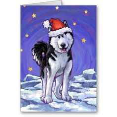 Cute Husky Christmas Cards created by Animal Parade. Share in the fun this holiday season with our festive pup all decked out for the holidays. Send out this playful dog greeting card with matching postage too!