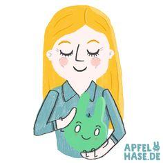 Selfie mit Apfelhase selfie, me, illustration, draw, drawing, apfelhase love, girl