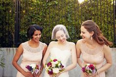 beautiful vintage lace bridesmaids dresses in pink/peach