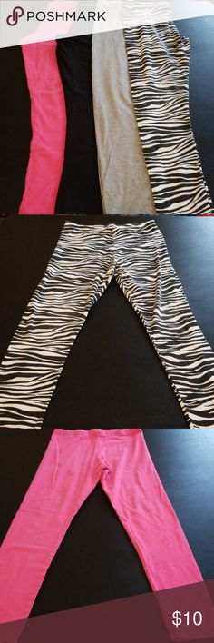 Bundle of Girls Leggings Bundle of four girls leggings. All are used  Zebra- faded glory size XL 16/16 Pink- faded glory size XL 14/16 Black- faded glory size XL 14/16 Gray- faded glory XL 14/16 Faded Glory Bottoms Leggings