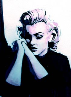 beautilation:    Marilyn Monroe Pondering Lincoln. Marker, pencil and watercolor.