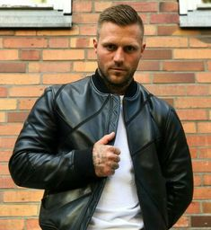 Men's Leather Jackets: How To Choose The One For You. A leather coat is a must for each guy's closet and is likewise an excellent method to express his individual design. Leather jackets never head out of styl Throwback Thursday, German Men, Babe, Revival Clothing, Rain Suit, The Right Man, Tough Guy, Hooded Raincoat, Raincoats For Women