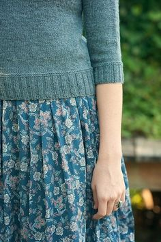 Blue flower print skirt
