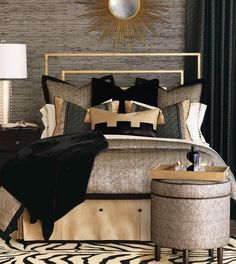This is a Bedroom Interior Design Ideas. House is a private bedroom and is usually hidden from our guests. Much of our bedroom … Black Gold Bedroom, Gold Bedroom Decor, Glam Bedroom, Home Bedroom, Modern Bedroom, Living Room Decor, Bedroom Ideas, Bedroom Designs, Black And Cream Bedroom