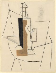 Bottle and Wine Glass on a Table Pablo Picasso