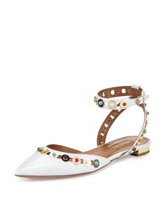 Byzantine Studded Leather Flat, White/Multi by Aquazzura at Neiman Marcus.