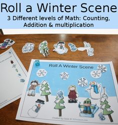 Fun Math: Roll a Winter Scene Printable - 3 Levels of learning: counting, addition, and multiplication - 3Dinosaurs.com