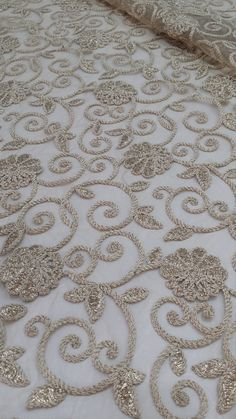 Gold embroidery lace fabric French Lace Embroidered by LaceToLove Gold Lace Fabric, Embroidered Lace Fabric, Cutwork Embroidery, Hand Work Embroidery, Couture Embroidery, Hand Embroidery Designs, Broomstick Lace, Lace Evening Dresses, Dress Lace