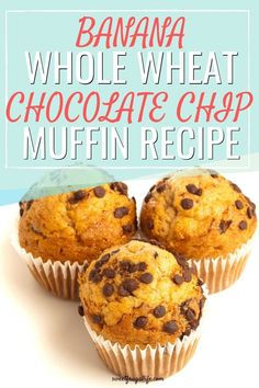 Whole Wheat Banana Chocolate Chip Muffin Recipe - Sweet Frugal Life Wheat Muffin Recipe, Simple Muffin Recipe, Muffin Recipes, Delicious Breakfast Recipes, Yummy Snacks, Dessert Recipes, Frugal Recipes, Frugal Tips, Baking Recipes