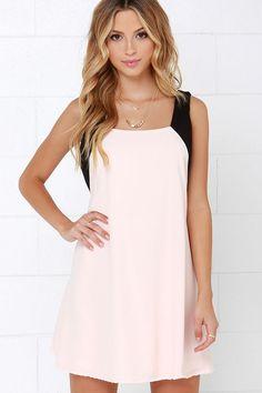 Black and Peach Swing Dress